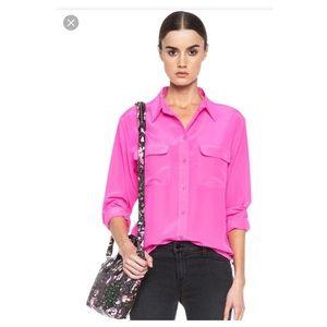 Equipment silk oversized fuchsia button blouse s